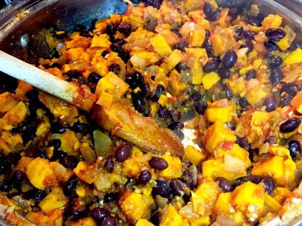 Sweet Potato Black Bean Enchiladas Prep 1
