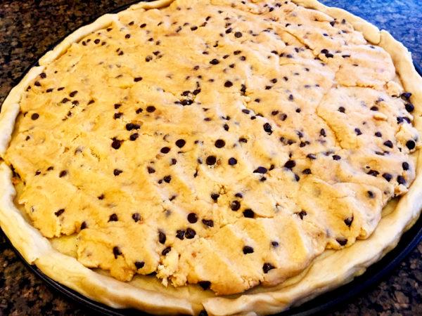 Vegan Chocolate Chip Cookie Pizza Prep 1