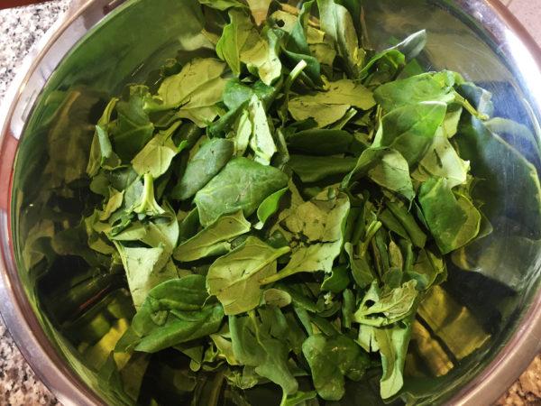 Spinach Salad Prep 1