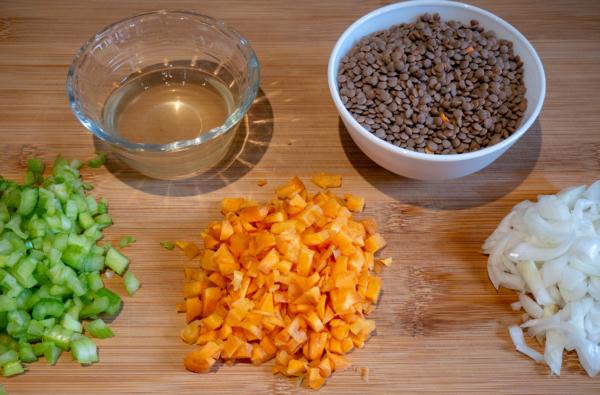 Vegan Red Lentil Bolognese Prep 1